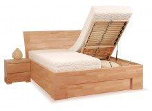 Manželská postel s úložným prostorem z masivu SOFIA F118/F139, masiv buk