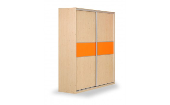 Skříň s posuvnými dveřmi D651/L, lamino - smrk, bílá
