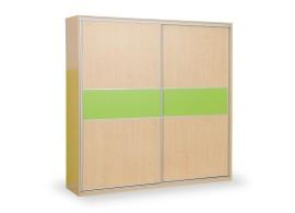 Skříň s posuvnými dveřmi D652/L, lamino - smrk, bílá