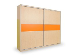 Skříň s posuvnými dveřmi D653/L, lamino - smrk, bílá