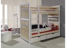Dětská patrová postel se zábranou a úložným prostorem SALAMON, masiv borovice