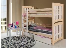 Dětská patrová postel se zábranou a úložným prostorem SERA, masiv borovice