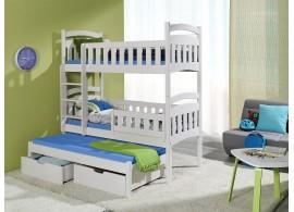 Poschoďová postel s přistýlkou a úložným prostorem pro 3 děti DOMI, masiv borovice