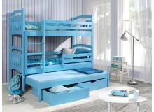 Poschoďová postel s přistýlkou a úložným prostorem pro 3 děti JACOB, masiv borovice