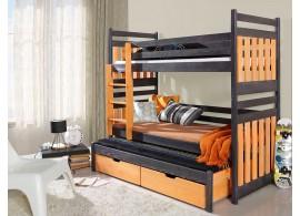 Poschoďová postel s přistýlkou a úložným prostorem pro 3 děti SAMBA, masiv borovice