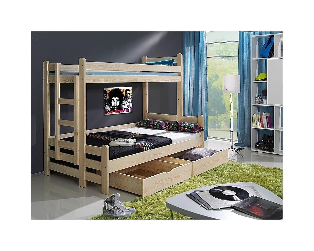 Dětská patrová postel s úložným prostorem BENI, masiv borovice