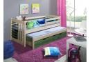 Dětská postel s přistýlkou, zábranou a úložným prostorem SIMON, masiv borovice