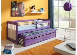 Dětská postel s přistýlkou, zábranou a úložným prostorem ANNA, masiv borovice
