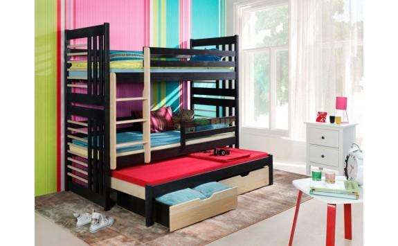 Poschoďová postel s přistýlkou, zábranou a úložným prostorem pro 3 děti RONALD, masiv borovice