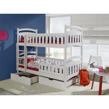 Dětská patrová postel s úložným prostorem a zábranou DOMIN, masiv borovice