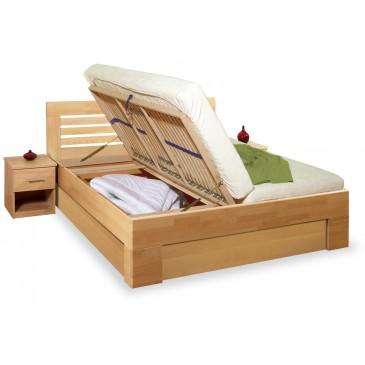 Manželská postel z masivu s úložným prostorem LEONA L2 180x200, 160x200, masiv buk