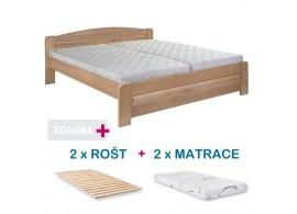 Manželská postel LADA s roštem a matrací ZDARMA 180x200, masiv buk