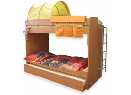 Poschoďová postel pro 3 děti s žebříkem Miki-2