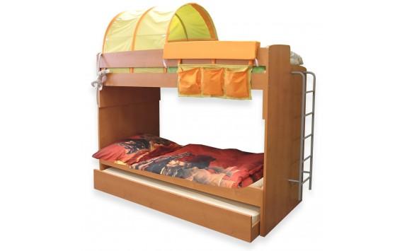 Poschoďová postel pro 3 děti s žebříkem Miki-2, olše