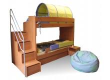 Poschoďová postel pro 2 děti se schůdky Miki-3, olše
