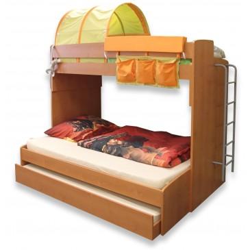 Poschoďová postel pro 3 děti s žebříkem Miki-4, olše