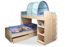 Patrová postel pro 2 děti elko s žebříkem D1-DONALD