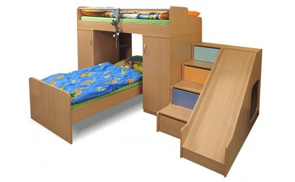 Patrová postel se skříní, schůdky a skluzavkou D2-DONALD