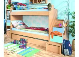 Patrová postel pro 2 děti se schůdky D4-DONALD