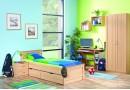 Dětská postel s úložnými prostory 90x200 B18-BOLZANO, buk-bříza-olše