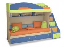 Dětská patrová postel se schůdky a úložným prostorem MIA-004