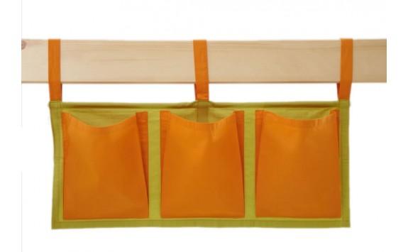 Textilní kapsy na postel MONTERO-15, zeleno-oranžová