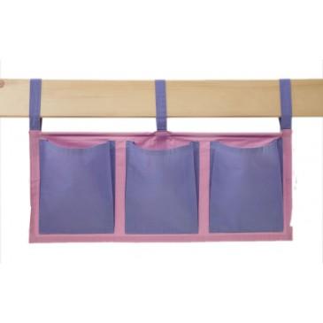 Textilní kapsy na postel MONTERO-15, růžovo-modrá