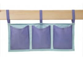 Textilní kapsy na postel MONTERO-15, světle zelená-modrá
