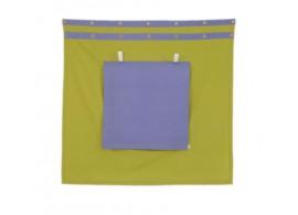 Záclonka pod zvýšenou postel MONTERO-11, zeleno-modrá