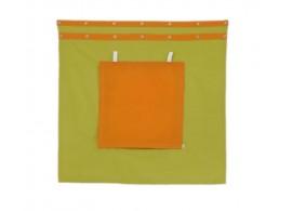 Záclonka pod zvýšenou postel MONTERO-11, zeleno-oranžová