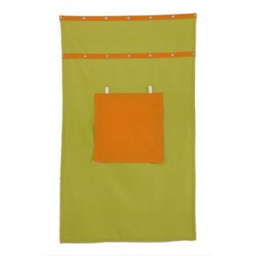 Záclonka pod patrovou postel MONTERO-13, zeleno-oranžová