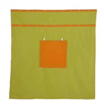 Záclonka pod patrovou postel MONTERO-14, zeleno-oranžová