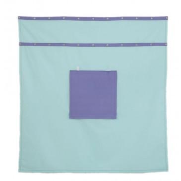 Záclonka pod patrovou postel MONTERO-14, světle zelená-modrá