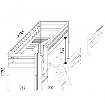 Zvýšené jednolůžko DOMINO D905/BC, masiv buk