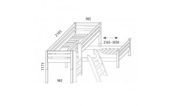 Dětská zvýšená postel - elko posuvné DOMINO D937/BC, masiv buk