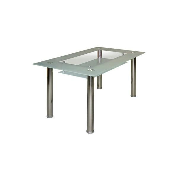 Skleněný jídelní stůl IA3007, 150x90, kombinace kov-sklo
