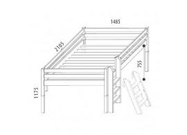 Zvýšená postel - jednolůžko 140x200 DOMINO D938/BC, masiv buk