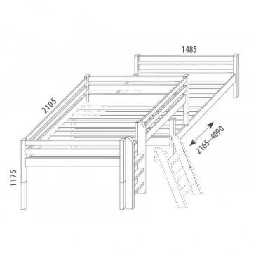 Zvýšená postel - jednolůžko posuvné 140x200 DOMINO D939/BC, masiv buk