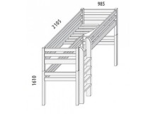 Dětská postel - horní spaní DOMINO D857/BC nízká, masiv buk