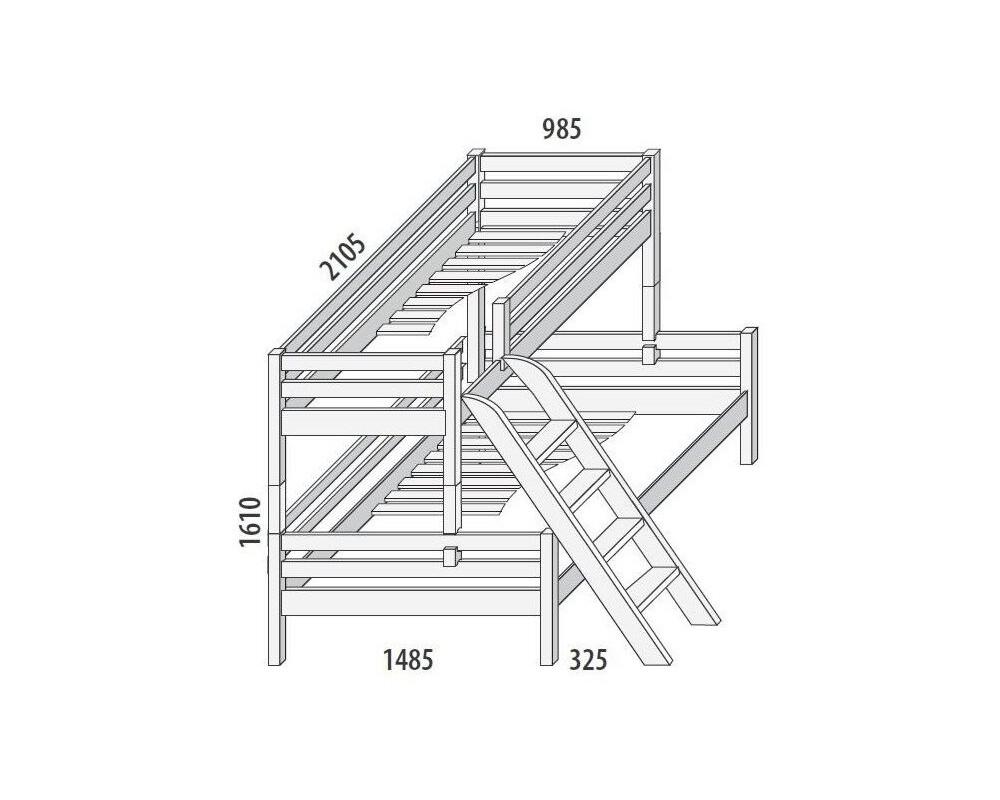 Palanda - poschoďová postel DOMINO D859/BC nízká, masiv buk