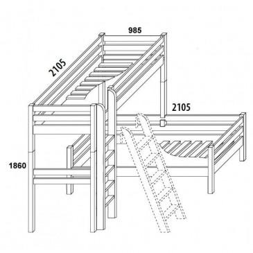 Poschoďová postel - palanda elko DOMINO D908/BC, masiv buk