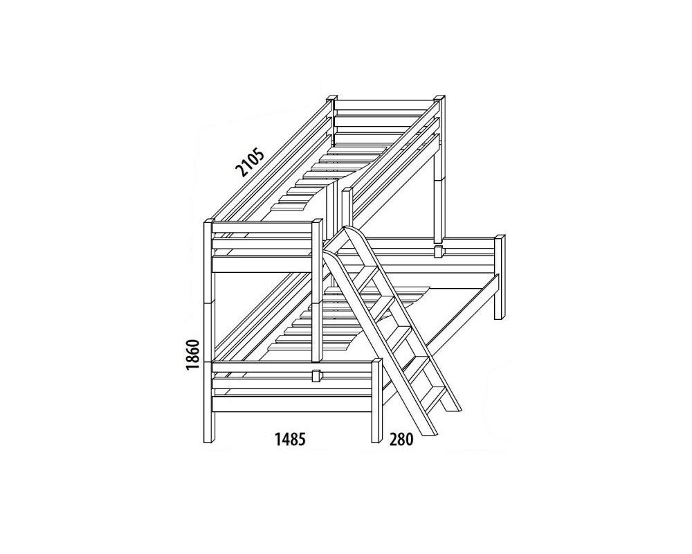 Palanda - poschoďová postel DOMINO D909/BC, masiv buk