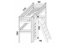 Dětská postel - horní spaní DOMINO D907/BC, masiv buk