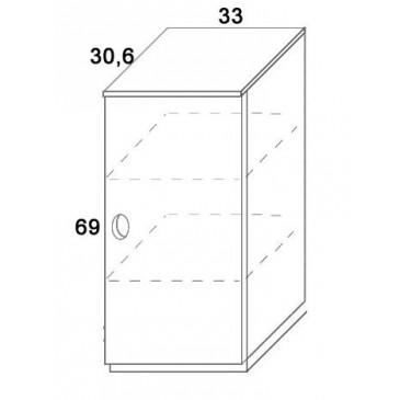 Skříň dvířková D305/BC-Domino, masiv buk