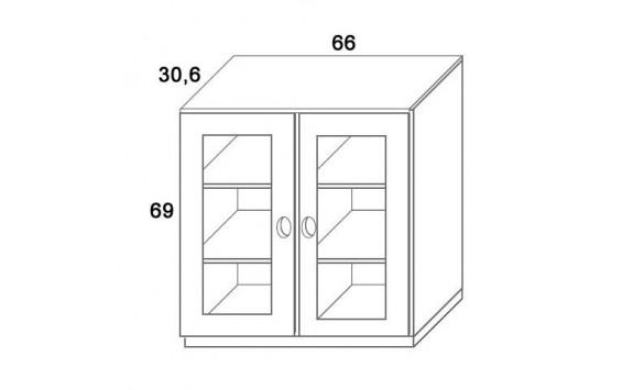 Skříň 2- dvířková- sklo D309/BC-Domino, masiv buk