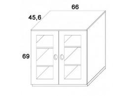 Skříň 2-dvířková- sklo D413/BC-Domino, masiv buk