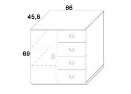 Skříň dvířka + zásuvky D414/BC-Domino, masiv buk