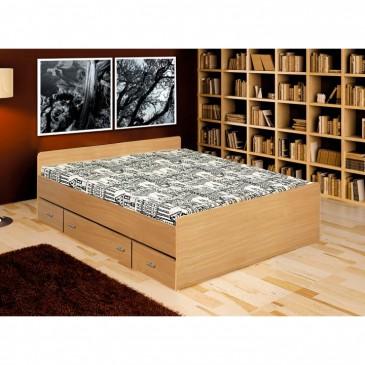 Postel s úložným prostorem DUET 140x200, lamino buk