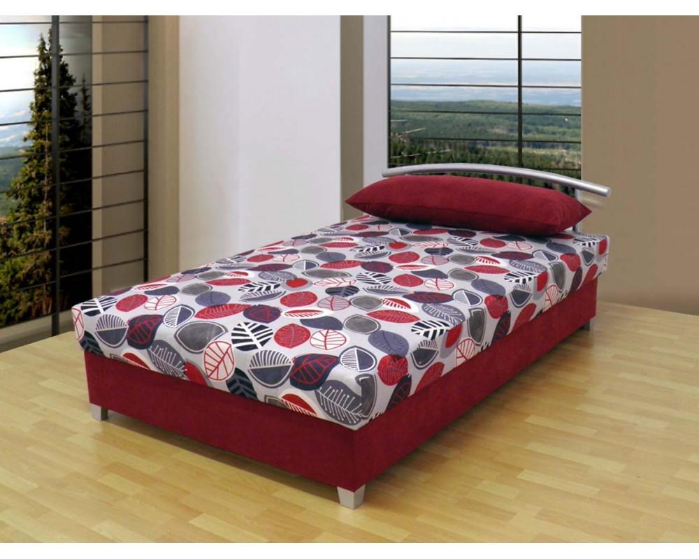 Zvýšená čalouněná postel s úložným prostorem KATKA, 120x200, červená