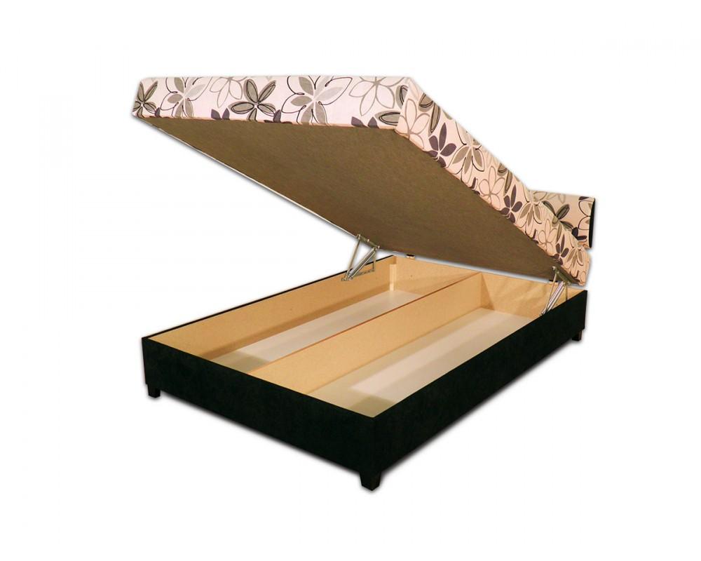 Zvýšená čalouněná postel s úložným prostorem LAUREL, 140x200